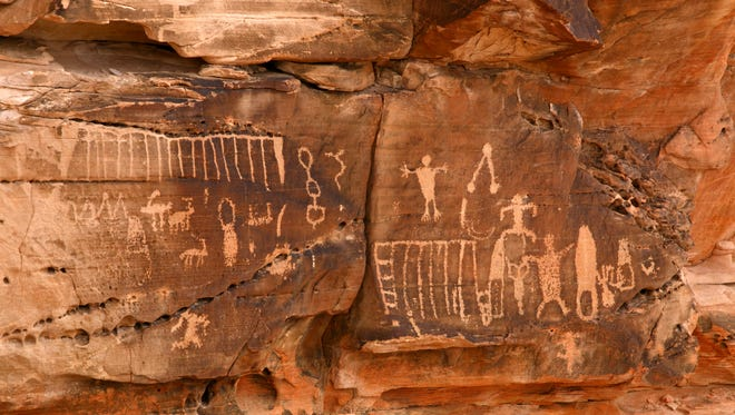 Petroglyphs are among the cultural and historical artifacts in the Gold Butte Area of Critical Environmental Concern.