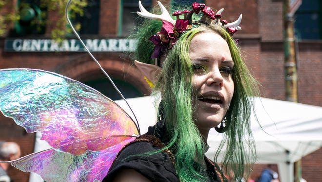 Kate Nyx, of Philadelphia, winks at the camera, during the Go Green in City event  Saturday April 23, 2016. Amanda J. Cain photo