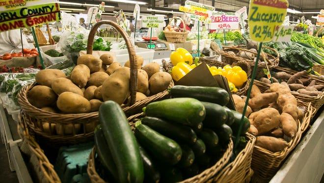 An array of produce sits at Brogue Hydroponics Friday, April 29, 2016, at New Eastern Market. Amanda J. Cain photo