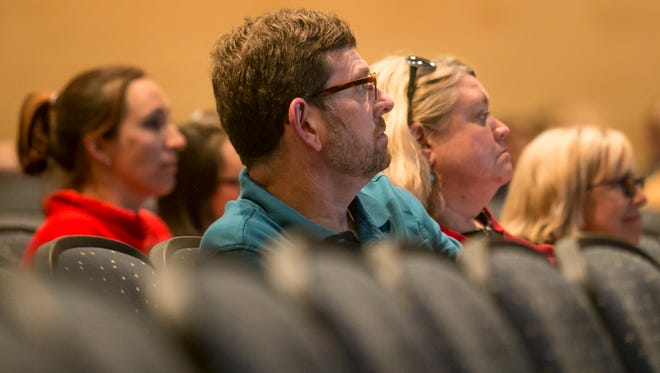 West Shore School district teachers and supporters look on during the West Shore board meeting at Cedar Cliff High School Thursday, Sept. 8, 2016, in Camp Hill. Amanda J. Cain photo