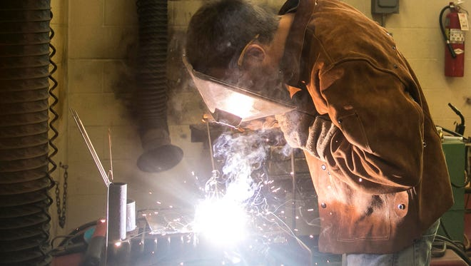 Red Lion junior Calub Welty practices welding Wednesday, Sept. 14, 2016, at Red Lion Area High School. The Red Lion Education Association just received a grant for $5,000 that will go toward new welding equipment. Amanda J. Cain photo