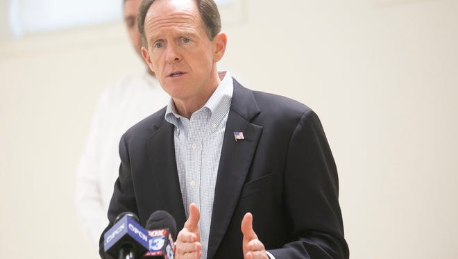 In this file photo, Sen. Pat Toomey, gestures during his press conference at Strinestown Fire Company Wednesday, Nov. 2, 2016. Amanda J. Cain photo