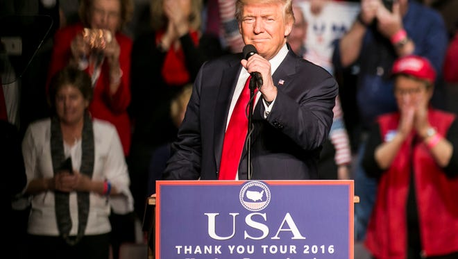 President-elect Donald J. Trump speaks during his Thank You Tour Rally Thursday, Dec. 15, 2016, at the Giant Center in Hershey. Amanda J. Cain photo