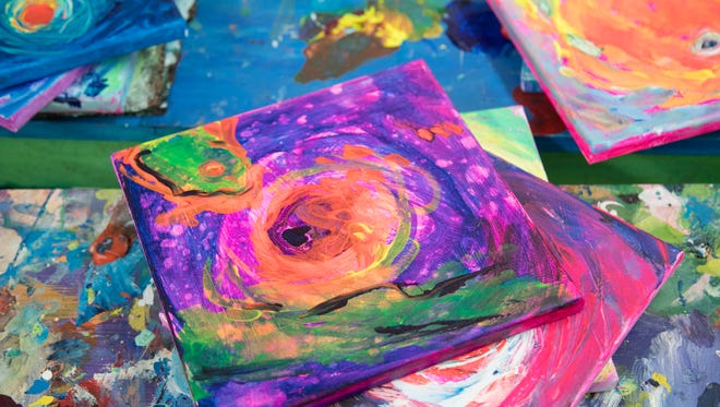 Leoma Lovegrove painted a series of small paintings while watching Hurricane Irma move toward Florida.