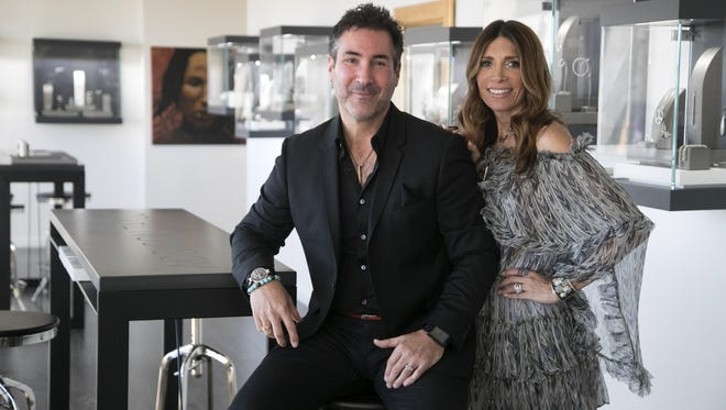 Husband and wife Scott and Marla Berger are owners and founders of Addison Taylor Fine Jewelry and also design its pieces. They recently launched a line called Tree of Life Intention Necklaces, which is comprised of chosen intentions ranging from health and happiness to gratitude and faith. They are seen at their Scottsdale store on March 6, 2018.