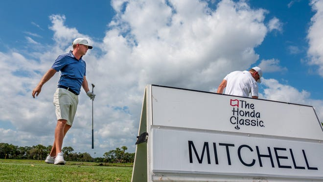 Keith Mitchell hits on the driving range during the practice round of the Honda Classic at PGA National in Palm Beach Gardens Tuesday.