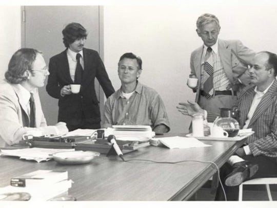 A 1977 photograph of James Earl Ray, center, the assassin of the Rev. Dr. Martin Luther King Jr. The photo is from the archive of Jack Kershaw, an attorney who represented Ray. Kershaw is standing at right in the photo.