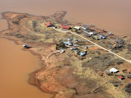 This aerial view of properties at Lake Kickapoo illustrates how much the water level  dropped due to ongoing drought conditions.