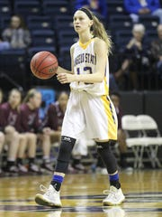 Angelo State University's Madi Greenwood helped lead the Rambelles to an upset against No. 2 West Texas A&M in a Lone Star Conference women's basketball game at the Junell Center on Thursday, Jan. 11, 2018.