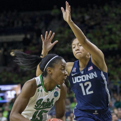 Notre Dame's Lindsay Allen drives against UConn's Saniya