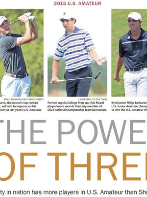 Sam Burns (left), Eric Ricard (center) and Philip Barbaree Jr. tee off in the U.S. Amateur on Monday.