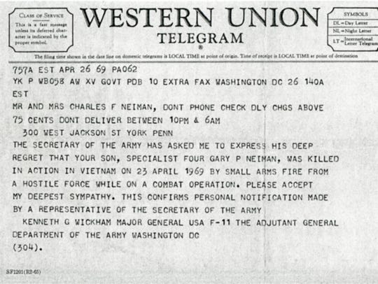 Gary P. Neiman's family received this telegram informing