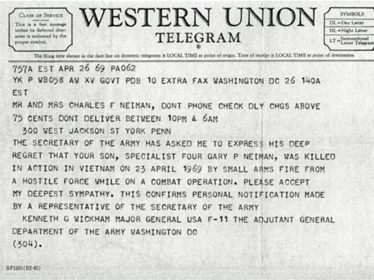 Gary P. Neiman's family received this telegram informing them of their son's death.