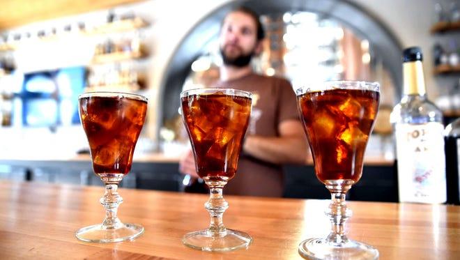 The original Picon punch is made of grenadine, Torani Amer, club soda and brandy.