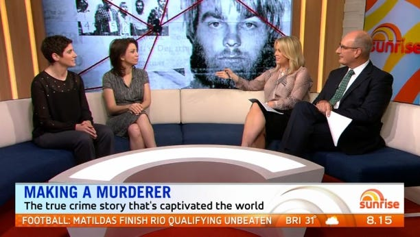"The filmmakers behind ""Making a Murderer"" appeared on an Australian morning show Thursday."