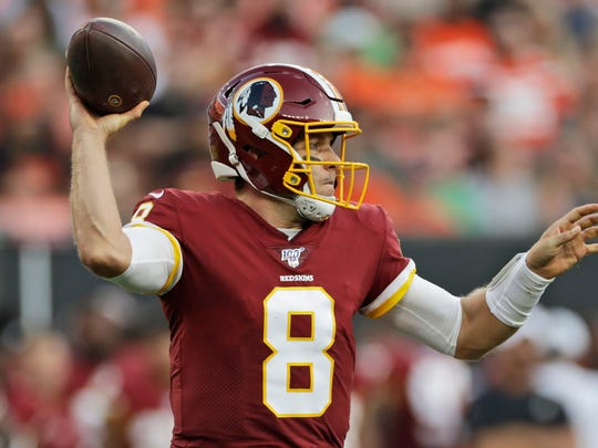 Washington Redskins quarterback Case Keenum throws a pass during the first half of an NFL preseason football game against the Cleveland Browns, Thursday, Aug. 8, 2019, in Cleveland. (AP Photo/Ron Schwane)