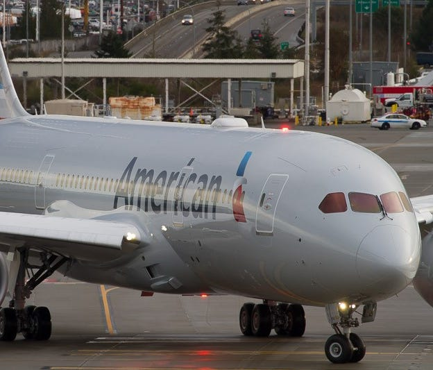 American Airlines' first Boeing 787 Dreamliner takes off for a test flight from Boeing's widebody factory in Everett, Wash., on Jan. 6, 2015.