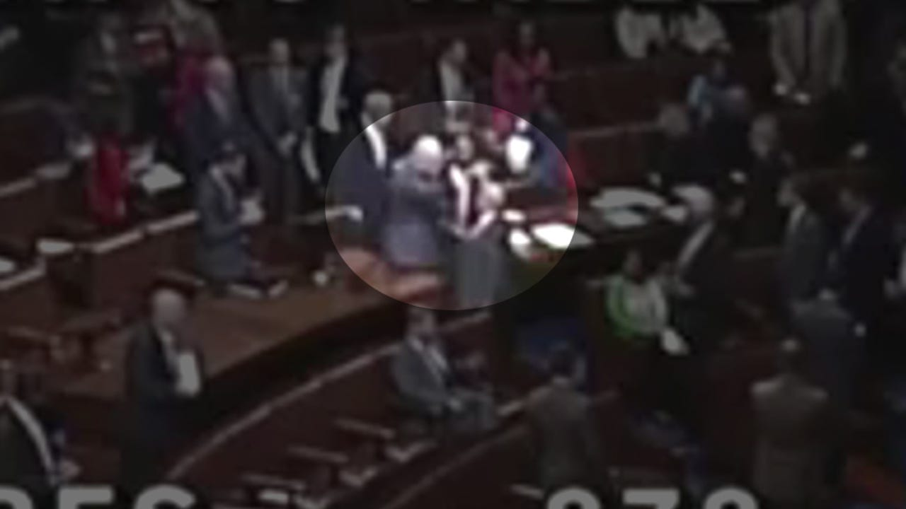 C-Span video from May 8, 2018 shows Rep. Tom MacArthur, R-N.J., getting into a heated argument with Rep. Joe Crowley, D-N.Y., over the forced resignation and then rehiring of the House chaplain, Father Patrick Conroy.