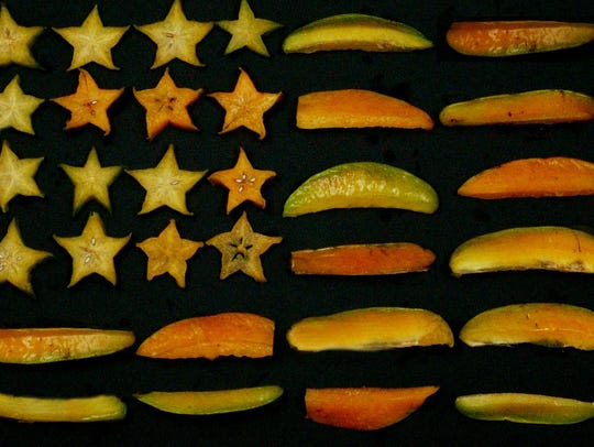 FLAG MADE FROM SLICED CARAMBOLAS