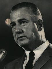 Vice President Spiro Agnew addresses a crowd in this undated 1969 photo