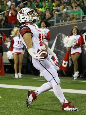Utah's Britain Covey (18) is one of three true freshman pass catchers who are giving a big boost to the Utes.