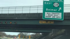 The end of the road: Exit 6A for Belmar is the southern