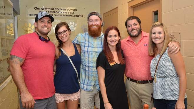"""Tom Ardito, Bethany Fahringer, Austin and Jessie Clifford, and Scott and Linsey Brechbill attended the recent Humane Society of the Treasure Coast's inaugural """"Kitty Catalina Wine Mixer"""" to benefit the shelter animals."""