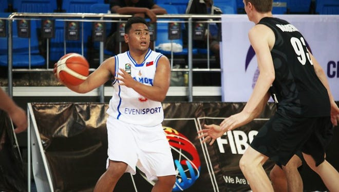 In this December 2016 file photo, Samuel Douglas Waardenburg (93) of New Zealand defends against Samoa at the 2016 FIBA U18 Oceania Championship for Men in Suva, Fiji.
