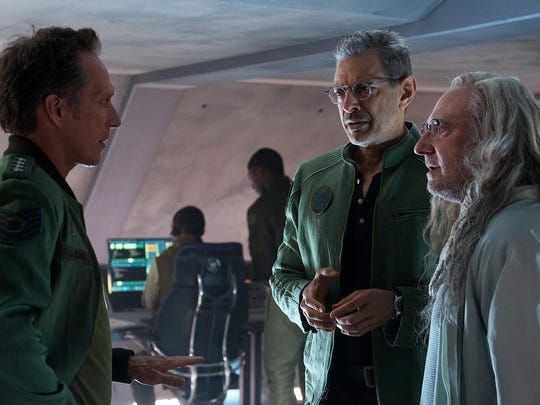 "Gen. Adams (William Fichtner, left) confers with David Levinson (Jeff Goldblum) and scientist Dr. Okun (Brent Spiner) in ""Independence Day: Resurgence."""