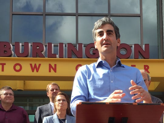 Burlington Mayor Miro Weinberger speaks Wednesday at news conference in front of Burlington Town Center.