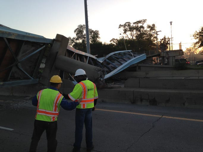 The Cathedral Street overpass collapsed  near Joy Road.