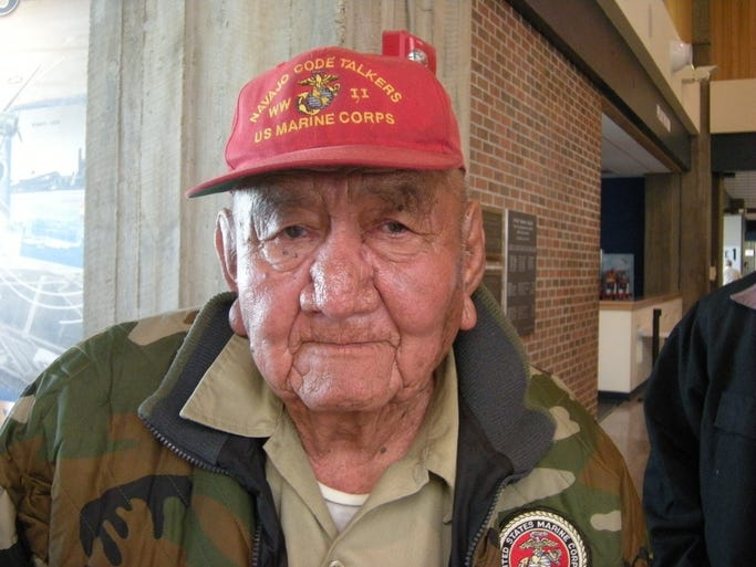 Samuel Tsosie of Castle Butte, N.M., a retired Marine Corps Navajo code talker, visited Montana family and regional schools in March 2010.