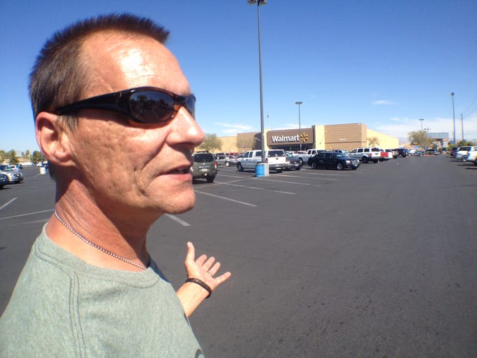 On Friday, Todd Woodruff of Lafayette made his first — and what he says will be his last — visit to Las Vegas since his daughter, Amanda Miller, and her husband, Jerad Miller, killed two police officers and a bystander on June 8. Here's a look at his one-day round trip to see where his daughter committed her crime, the Wal-Mart where she died and to bring home the cats she left behind.