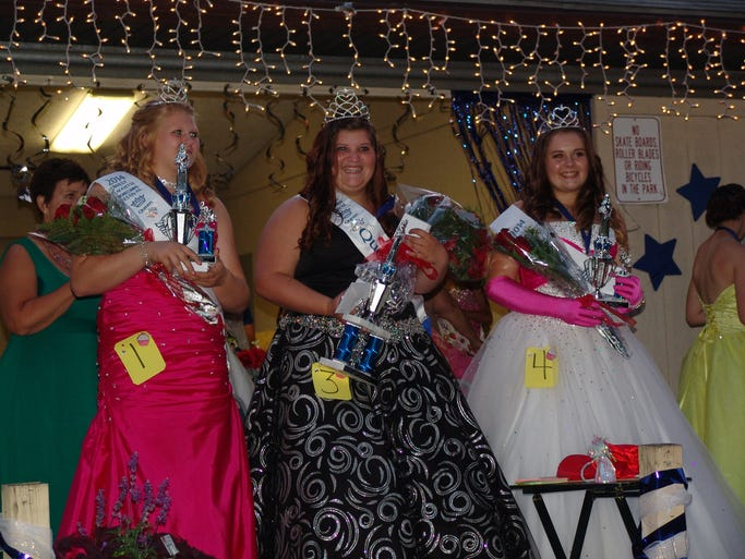 The 2014 West Lafayette Homecoming Queen Court: Left to Right: second attendant Josey Lillibridge, Queen Olivia Brady, and first attendent Issabelle Flores.