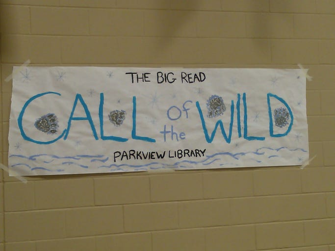 A sign for the Big Read at Parkview High School