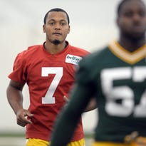 Green Bay Packers rookie Brett Hundley (7) will miss part of this week's OTA sessions.