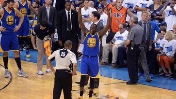 May 22, 2016; Oklahoma City, OK, USA; Golden State Warriors forward Draymond Green (23) argues with official Tony Brothers (25) during the second quarter against the Oklahoma City Thunder in game three of the Western conference finals of the NBA Playoffs at Chesapeake Energy Arena. Mandatory Credit: Mark D. Smith-USA TODAY Sports