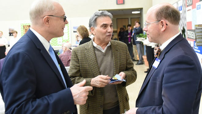Commissioner Bob Thomas, left, Dave Sciamanna and Rep. Paul Schemel join in conversation at the Capital Campaign Kickoff to support the new building that will house Franklin County Career and Technology Center's Licensed Practical Nursing Program, on Thursday, March 9, 2017.
