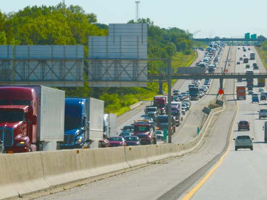 Traffic backed up on Interstate 80 after an accident in 2015.