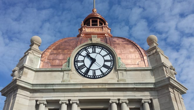In this photo from Nov. 6, 2017, the refurbished copper dome on the south side of the Brown County Courthouse shines in the late-morning sun.