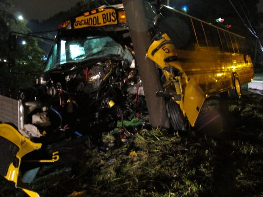 The decimated school bus driven by Rusty Fowler, the