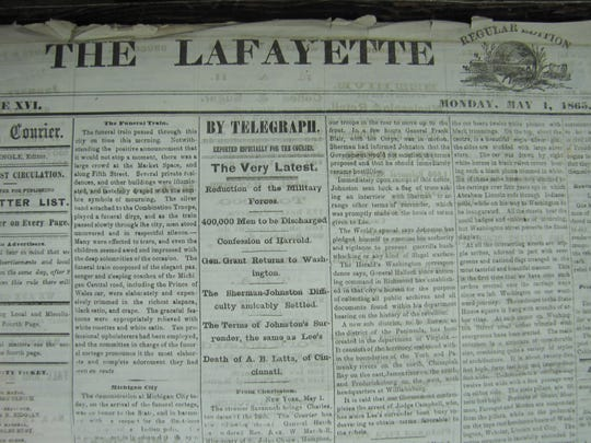 The Lafayette Courier on May 1, 1865, featured a story about President Abraham Lincoln's funeral train stopping in town that day.