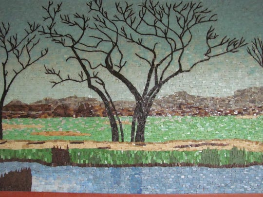 One of Phil Evanoff's mosaics features the scenery