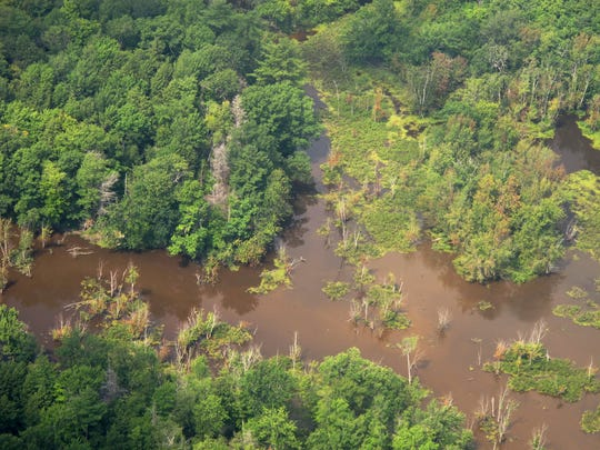 Wetlands in Addison County, viewed from the air in