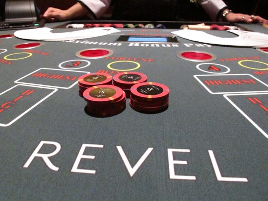 This March 28, 2012 photo shows gambling chips on a