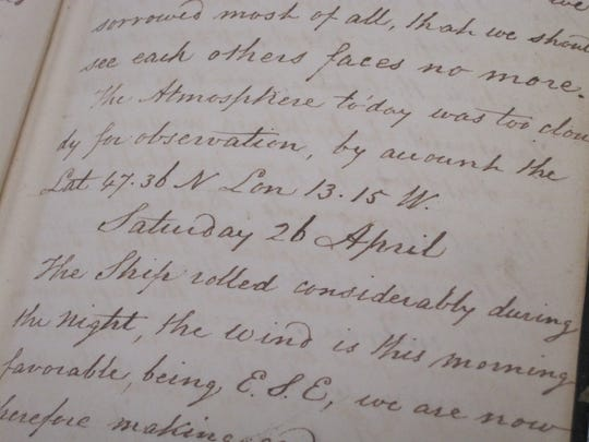 The diary of John Salmon, a passenger in 1828 on a ship sailing from England to New York, was found in Springfield in 2014 in a stack of donated books. The donor is unknown.