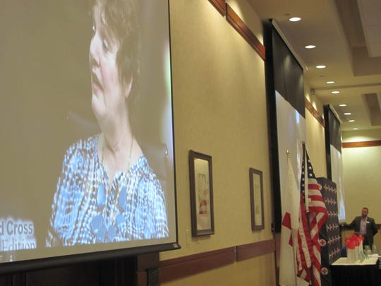 Luann Lundquist talks about her work with Alzheimer's caregivers in a video featurette during the annual American Red Cross tribute to community heroes event Thursday in St. George.