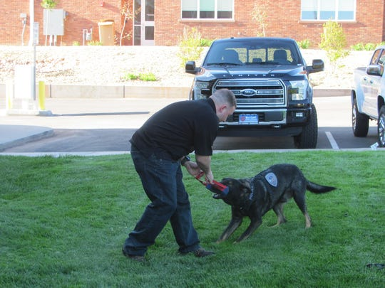 Washington City Officer Ryan Ericksen and his K-9 partner Tank play Wednesday night after appearing at the Washington City Council meeting to thank Tank's trainers.