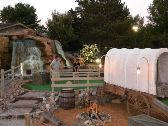 Modeled after a traditional old world mill, Settlers Mill's mini golf course features a giant water wheel, streams, logs and several different types of terrain.