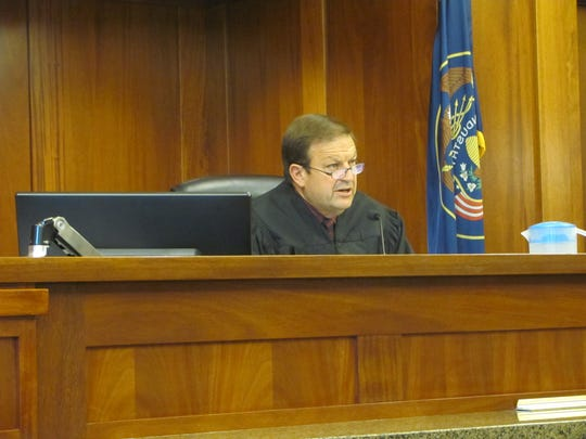 Fourth District Court Judge James Brady, visiting St. George to preside over the shooting case involving well known attorney Michael Dean Hughes, addresses the courtroom in this June 28 file photo. Hughes was sentenced Wednesday.
